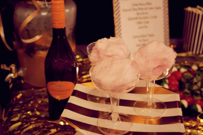 zuckerwatte mit champagner oder prosecco